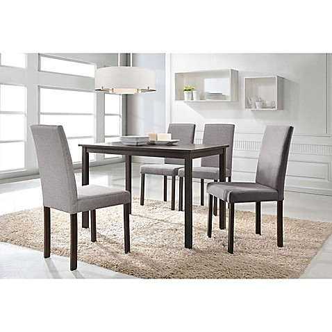 baxton studio andrew rectangle dining table set in brown beige bed