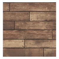 Nailhead Plank Removable Wallpaper in Weathered Brown
