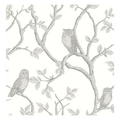 brewster home fashions enchanted forest owl and tree wallpaper in grey - Decorative Wallpaper