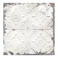 Tin Ceiling Distressed Tile Wallpaper in White