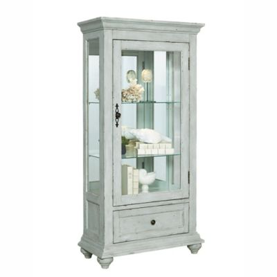 Pulaski Addison Curio Cabinet In Distressed White