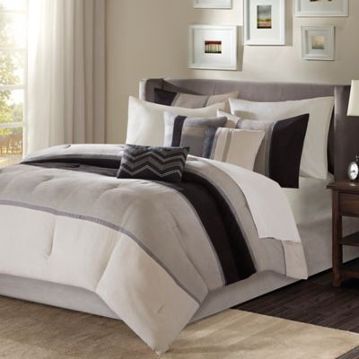 madison park palisades 7piece california king comforter set in black