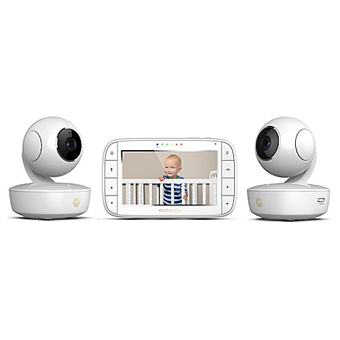 motorola mbp36xl 2 portable 5 video baby monitor with 2 cameras in white buybuy baby. Black Bedroom Furniture Sets. Home Design Ideas
