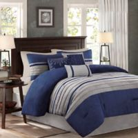 Madison Park Palmer 7-Piece Queen Comforter Set in Blue
