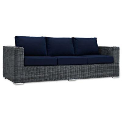 Modway Summon Outdoor Wicker Sofa In Sunbrella® Navy