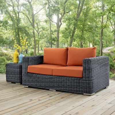 modway summon outdoor wicker loveseat in sunbrella tuscan