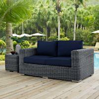 Modway Summon Outdoor Wicker Loveseat in Sunbrella® Navy
