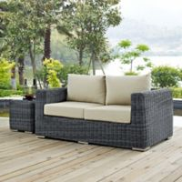 ModModway Summon Outdoor Wicker Loveseat in Sunbrella® Antique Beige