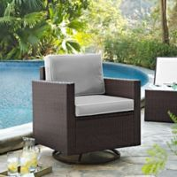 Crosley Palm Harbor All-Weather Resin Wicker Swivel Rocker Chair with Cushions in Grey