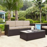 Crosley Palm Harbor All-Weather Resin-Wicker Sofa with Cushions in Sand