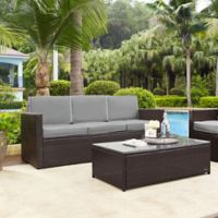 Crosley Palm Harbor All-Weather Resin-Wicker Sofa with Cushions in Grey