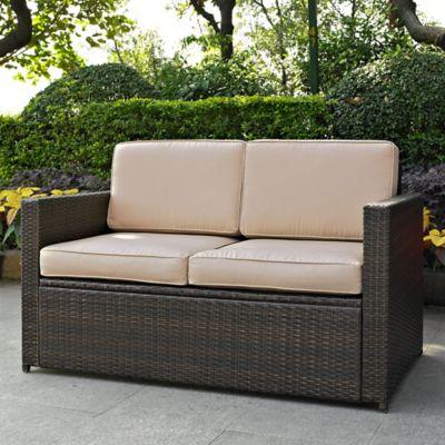 High Quality Crosley Palm Harbor All Weather Resin Wicker Loveseat With Cushions In Sand