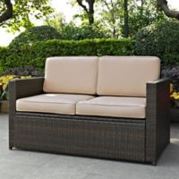 Crosley Palm Harbor All-Weather Resin-Wicker Loveseat with Cushions in Sand