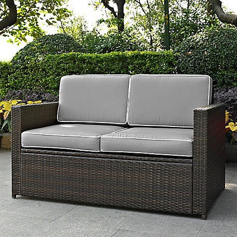 Crosley Palm Harbor All Weather Resin Wicker Loveseat With Cushions In Grey Bed Bath Beyond