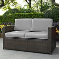 Crosley Palm Harbor All-Weather Resin-Wicker Loveseat with Cushions in Grey