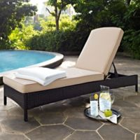 Crosley Palm Harbor All-Weather Resin-Wicker Chaise Lounge in Brown with Cushions in Sand