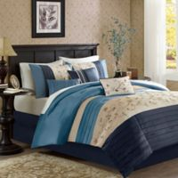 Madison Park Serene 7-Piece California King Comforter Set Navy