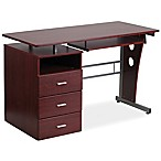 Flash Furniture Desk with Three Drawer Pedestal in Mahogany