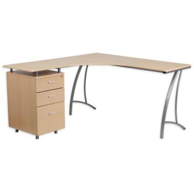 Flash Furniture Laminate L Shape Desk In Beechwood