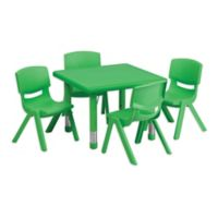 Flash Furniture 24-Inch Square Activity Table with 4 Stackable Chairs in Green