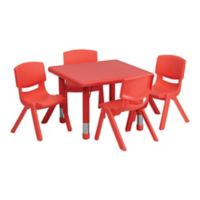 Flash Furniture 24-Inch Square Activity Table with 4 Stackable Chairs in Red