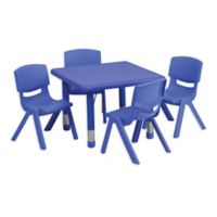 Flash Furniture 24-Inch Square Activity Table with 4 Stackable Chairs in Blue