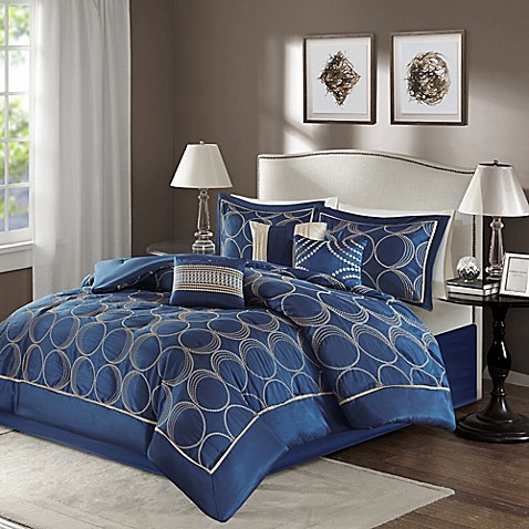 Madison park tamia 7 piece comforter set in navy bed - Bed bath and beyond bedroom furniture ...
