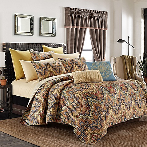 Elsewood reversible quilt set in orange blue bed bath beyond for Quilted headboard bedroom sets