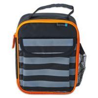Lifetime Brands BYO Dual Modern Stripe Lunch Bag in Black/Grey