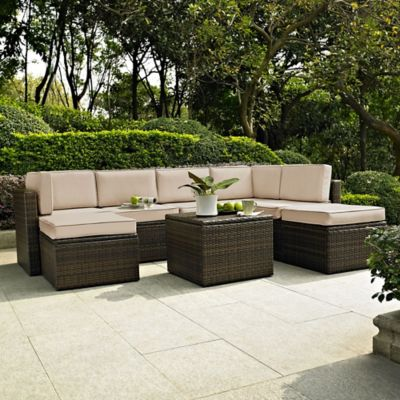 Crosley Palm Harbor 8-Piece All-Weather Resin-Wicker Sectional Set with  Cushions - Buy Crosley Patio Furniture From Bed Bath & Beyond