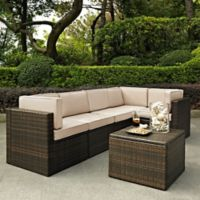 Crosley Palm Harbor 6-Piece Resin-Wicker Sectional Set with Cushions in Sand