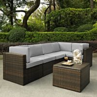 Crosley Palm Harbor 6-Piece All-Weather Resin-Wicker Sectional Set with Cushions in Grey