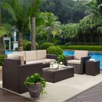 Crosley Palm Harbor 5-Piece Outdoor Wicker Entertainment Set in Sand
