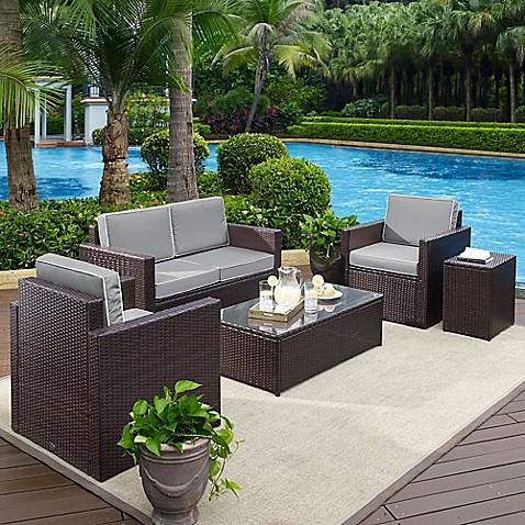 Crosley Palm Harbor 5 Piece Outdoor Wicker Entertainment Set Bed Bath Beyond