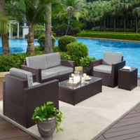 Crosley Palm Harbor 5-Piece Outdoor Wicker Entertainment Set in Grey