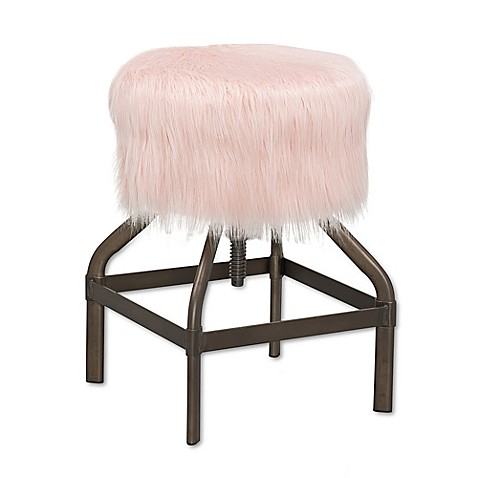 Buy Fur Top Adjustable Metal Stool In Pink From Bed Bath