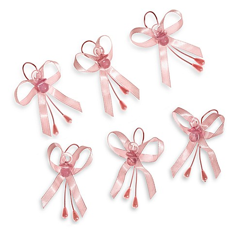 Baby Pacifier Favor Bands (Set of 6) in Pink