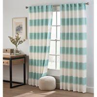 Cambree Stripe 108-Inch Rod Pocket Window Curtain Panel in Spa