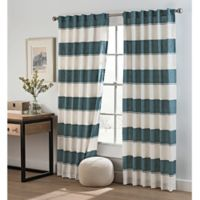 Cambree Stripe 84-Inch Rod Pocket Window Curtain Panel in Navy