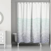 Designs Direct Waves Shower Curtain in Blue
