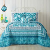 Jessica Simpson Aqua Flora King Quilt in Blue