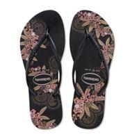 Havaianas® Size 11/12 Slim Organic Women's Sandal in Black/Gold