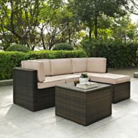 Crolsey Palm Harbor 5-Piece Outdoor Wicker Sectional Set in Sand