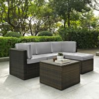 Crolsey Palm Harbor 5-Piece Outdoor Wicker Sectional Set in Grey