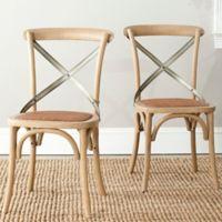 Safavieh Eleanor X-Back Farmhouse Side Chairs in Oak (Set of 2)