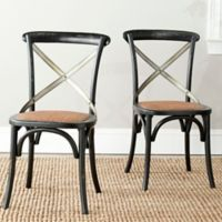 Safavieh Eleanor X-Back Farmhouse Side Chairs in Black (Set of 2)