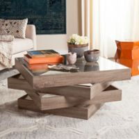 Safavieh Anwen Mid Century Geometric Wood Coffee Table in Light Grey