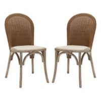 Safavieh Kioni Rattan Side Chairs in Taupe (Set of 2)