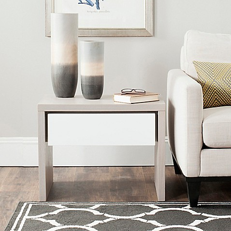 image of Safavieh Jonco Side Table in Grey/White