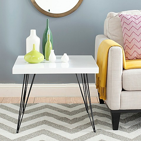 image of Safavieh Wolcott End Table in White/Black